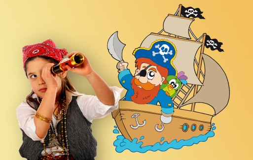 Wall Sticker Captain Redbeard And His Pirate Ship