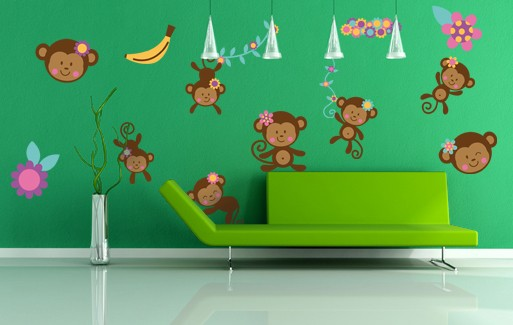 Wall Sticker - Cute Monkey Set (14 Pieces)