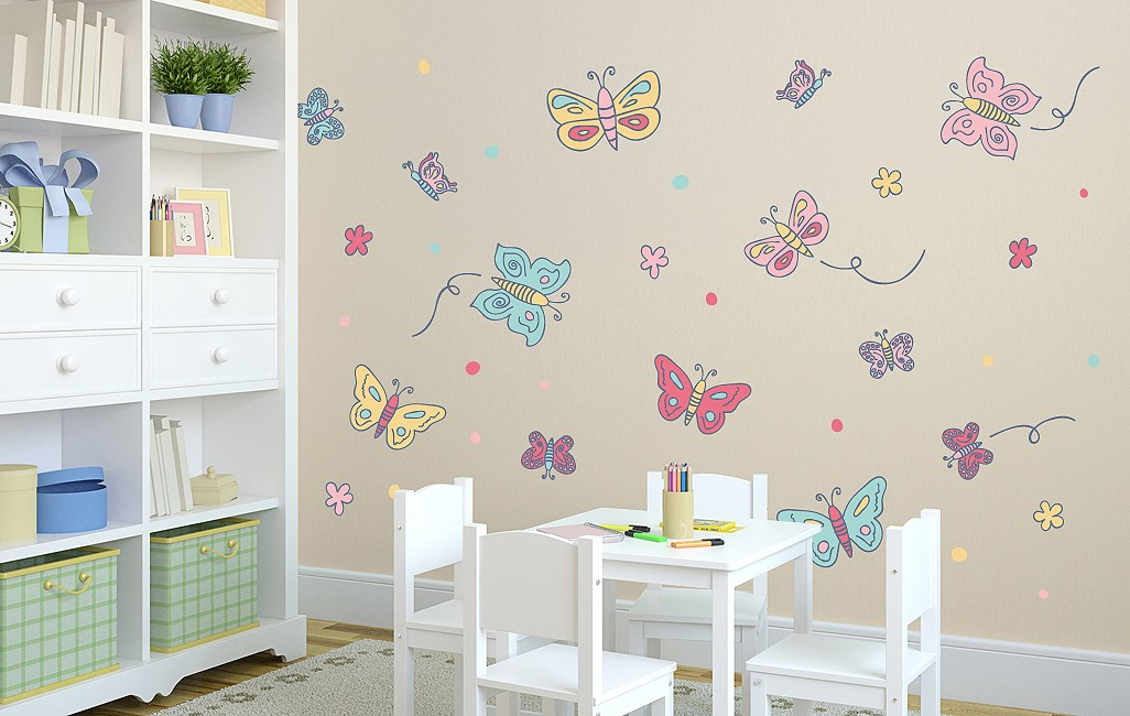 Wall sticker Butterfly Set pastell-coloured