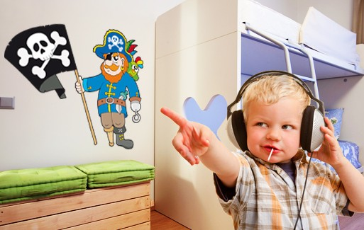 Wall Sticker Captain Redbeard With Pirate Flag