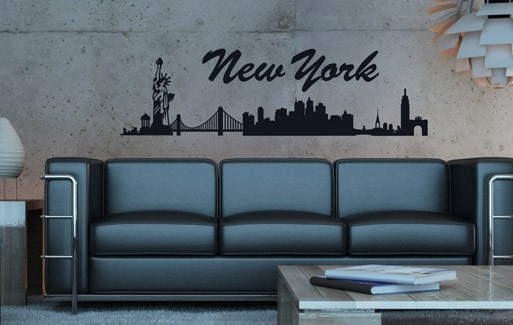 wandtattoo new york skyline 1 82 x 31cm schwarz 065191. Black Bedroom Furniture Sets. Home Design Ideas